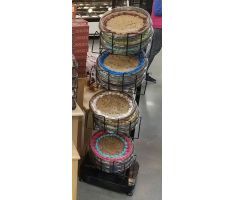 Floor display holding pies in wire baskets