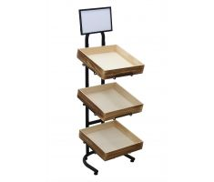 3 tier tube steel stand with 3 mounted wire brackets, holding square wooden crates.