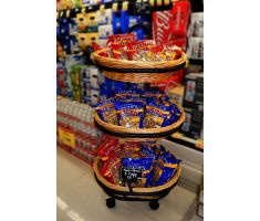 Willow basket floor display with nuts and sign frame
