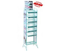 colored steel display with 7 shelves and graphics
