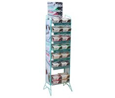 Teal wire display holding health  (prebiotic + probiotic) bars. This display has 7 shelves and a top mounted sign frame for traditional graphics.