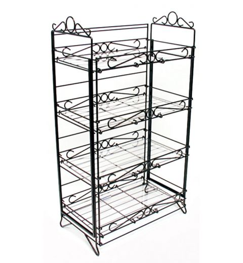 floral special offers bakery fold up displays B2442F. Ornate fold up wire floral display with 4 vertically aligned identical shelves. There are ornate wire designs that can hold act as sign frames fixed to the top.