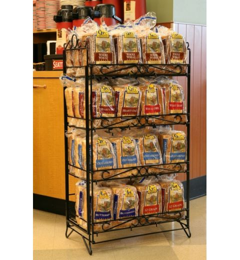 Fold up wire display holding many different types of bread.