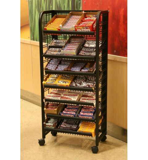End Cap Display holding various candy bars