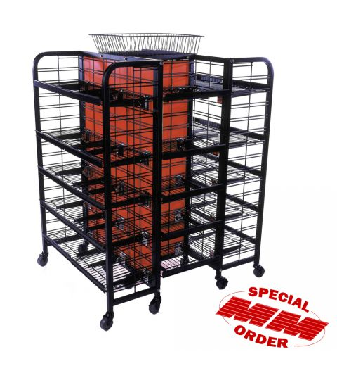 4 Sided Large Center Piece Display with shelving. Constructed by two end caps with wheels. Provides 360 degree wire adjustable shelving.