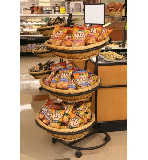 Large 3-tier oval willow display filled with pita chips