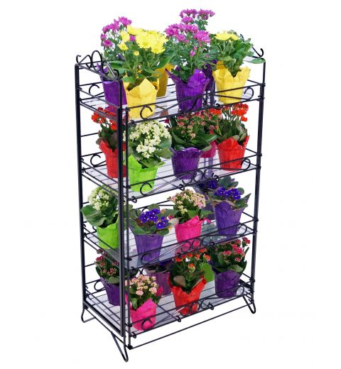 4 shelf wire display holding floral