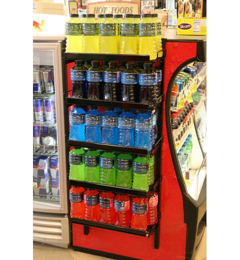 Magnetic wire cooler display with energy drinks