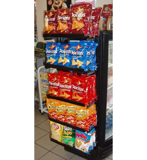 magnetic wire cooler display with chips and other snacsk