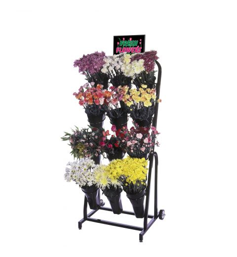 Floral cart with variety of floral and graphics on sign