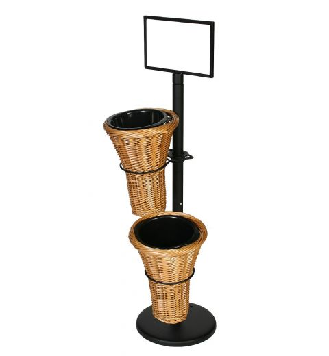 Floral Stand with 2 wicker vase holders