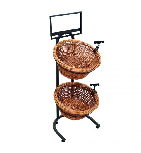 Floor display with 2 Willow Baskets, sign clips and a sign frame