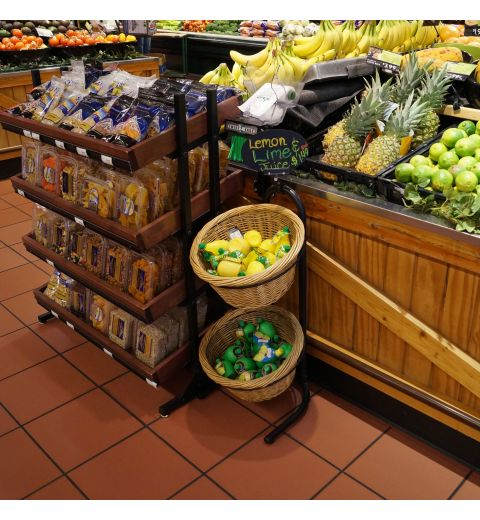 Willow basket display with produce in produce aisle