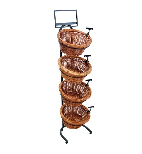 Vertical display with 4 willow baskets, sign clips, and a sign frame