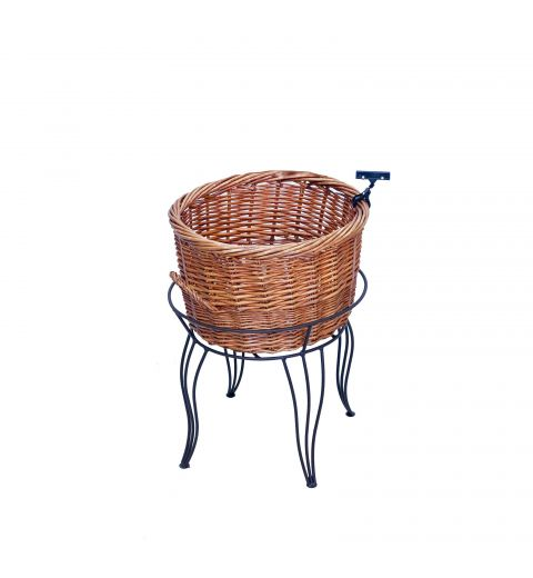 Large Empty Natural brown Willow Basket in Wire Stand