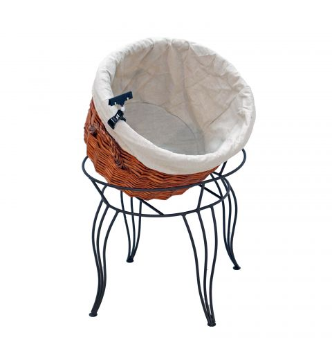 Empty Large Willow Basket with Fabric Liner i