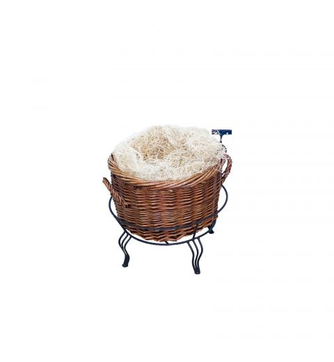 Small Willow Basket in wire stand filled with white display material