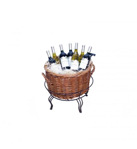Small willow Basket Display filled with wine bottles