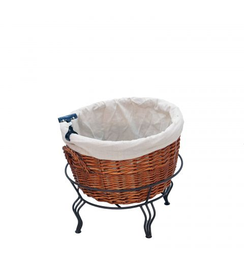 Small Willow Basket Display with Wire Stand and Fabric Liner