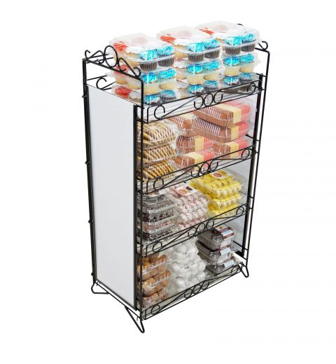 Fold up display holding doughnuts and other bakery items