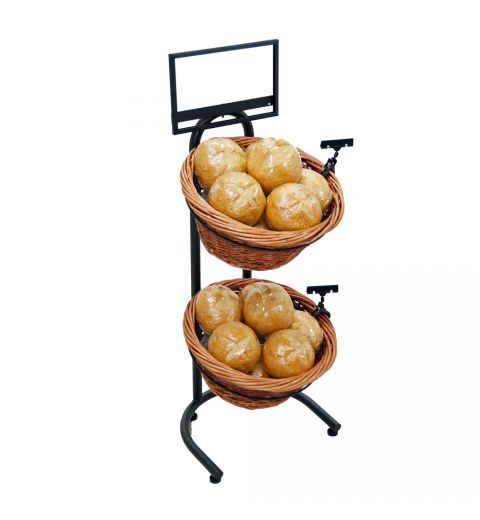 2 Tier display with produce, sign clips and sign frame