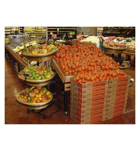 Willow basket display in produce aisle