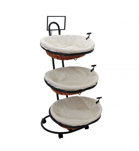 3 level slanted basket display with 3 oval baskets and cloth liners
