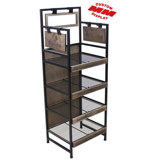 steel frame floor display with 4 wire shelves. Rustic looking laser engraved graphics are on either side of the display. One forward facing primary sign frame for traditional graphics.