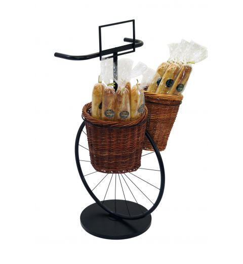 Bicycle shaped display stand with two willow baskets full of baguettes
