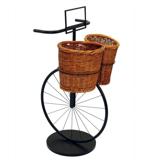 Bicycle stand with willow baskets