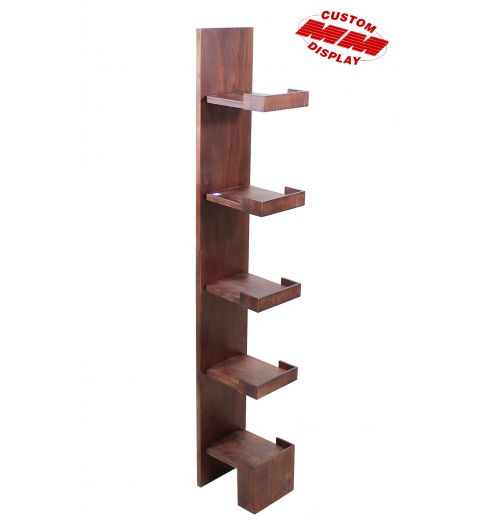 5-Shelf wood display with floating shelves that have front lips and no sides.