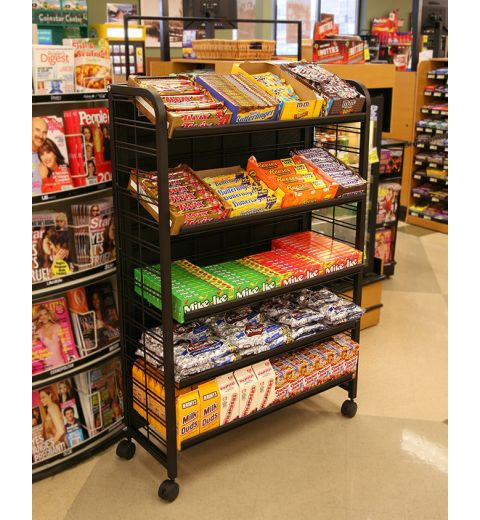 5 level wire display with shelves and snacks