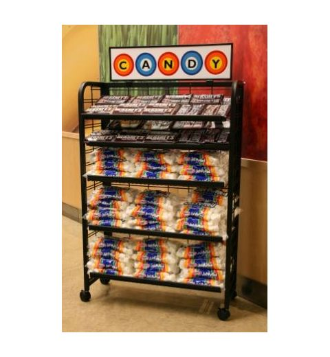 5 level wire display with shelves covered in smores supplies