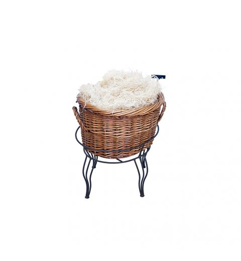 Single Medium Willow Basket filled with organic material