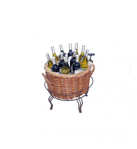 Small Willow Basket filled with wine - seen from the back
